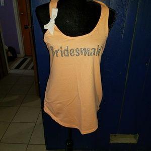 Sz LG Team Bride Bridesmaid Peach Tank top